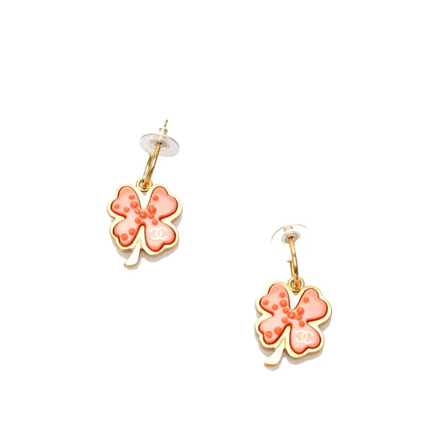 Red Chanel Clover Pushback Earrings