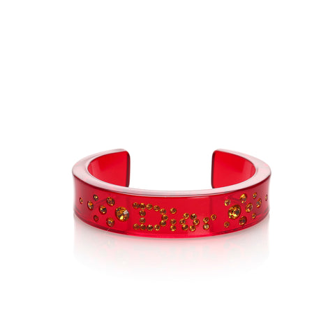 Red Dior Rhinestone Bangle