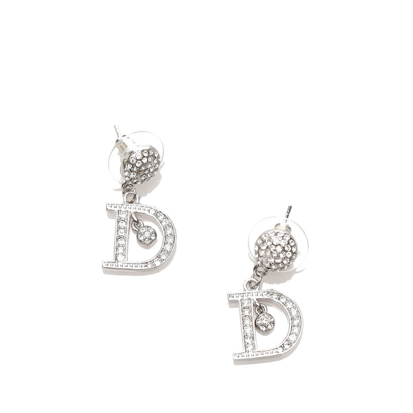 Silver Dior Rhinestone D Pushback Earrings