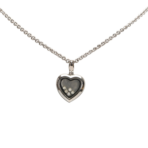 Silver Dior Heart Stone Pendant Necklace