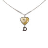 Silver Dior D Logo Heart Shell Necklace