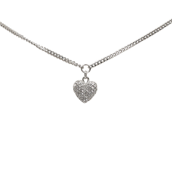 Silver Dior Heart Pave Stone Necklace