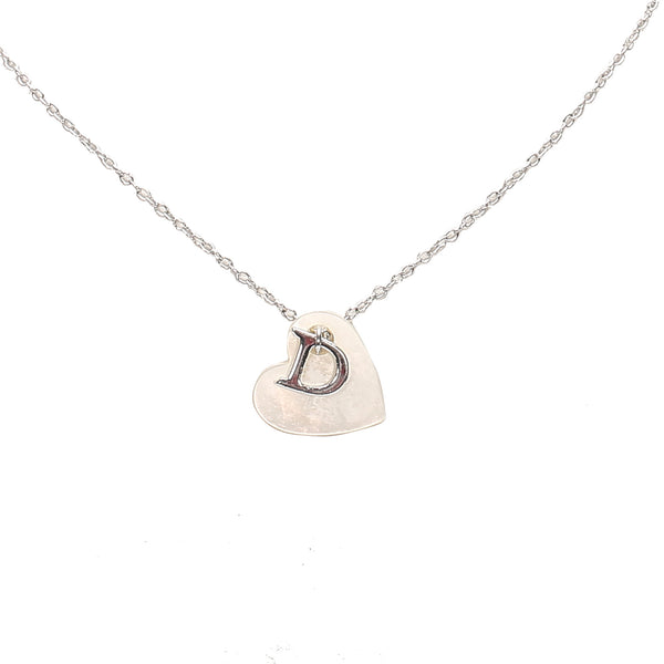 Silver Dior D Heart Pendant Necklace