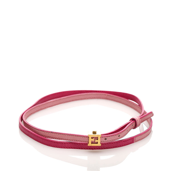 Pink Fendi Crayons Leather Bracelet