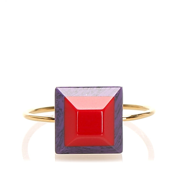 Red Fendi Rainbow Ring