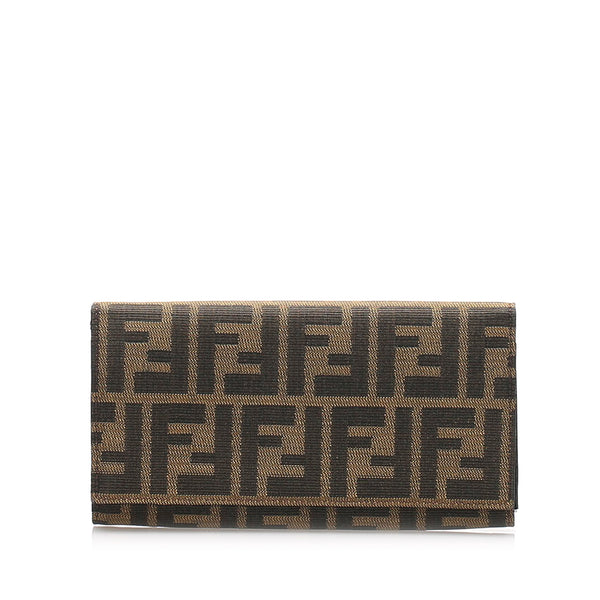Brown Fendi Zucca Canvas Long Wallet
