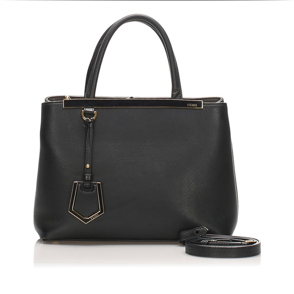 Black Fendi Petite 2Jours Leather Satchel Bag