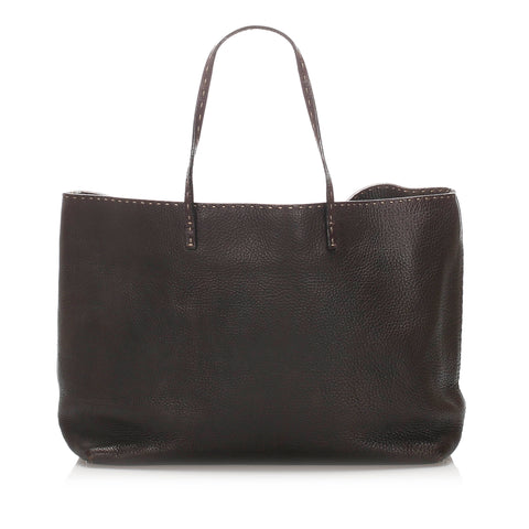 Black Fendi Selleria Leather Tote Bag