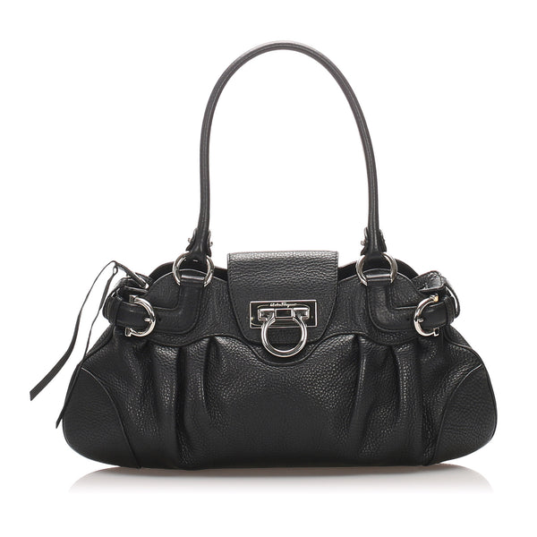 Black Ferragamo Marisa Leather Shoulder Bag