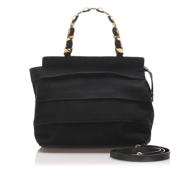 Black Ferragamo Tiered Grosgrain Chain Tote Bag