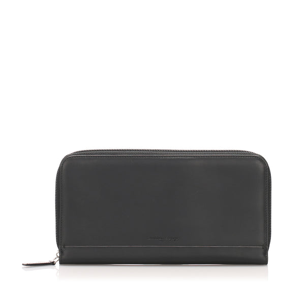 Black Ferragamo Leather Long Wallet