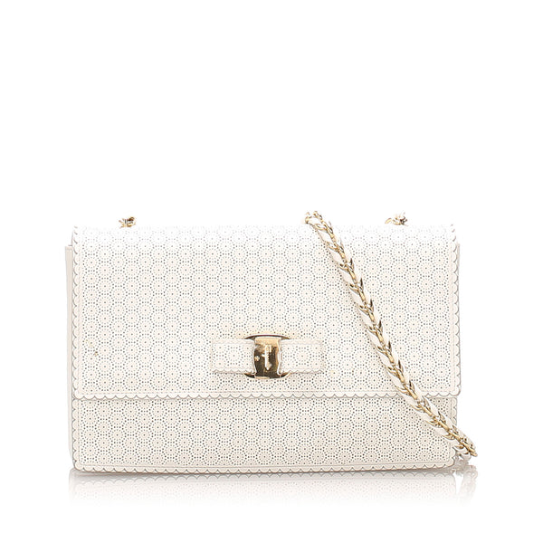 White Ferragamo Vara Leather Crossbody Bag