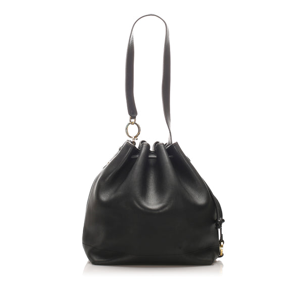 Black Ferragamo Leather Bucket Bag