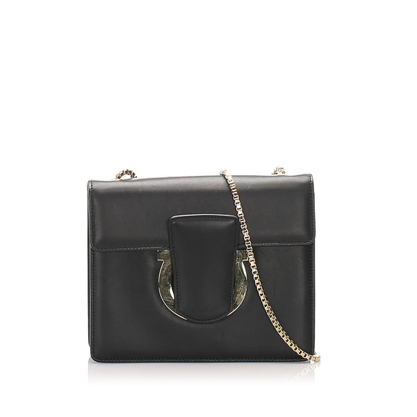 Black Ferragamo Thalia Leather Crossbody Bag