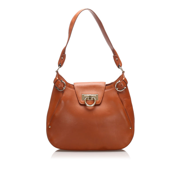 Brown Ferragamo Gancini Leather Shoulder Bag
