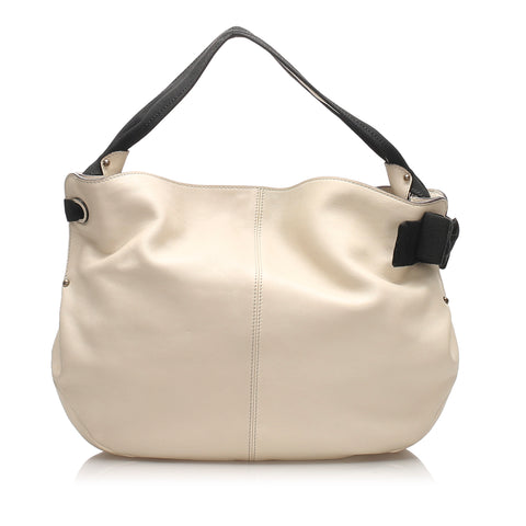 White Ferragamo Vara Leather Shoulder Bag