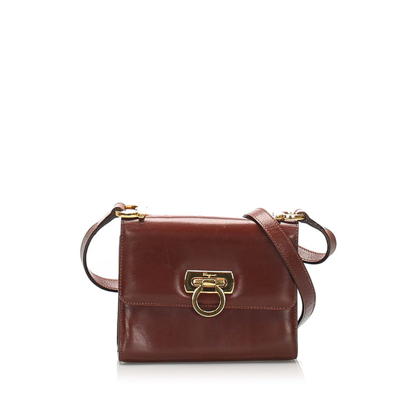 Red Ferragamo Gancini Leather Crossbody Bag
