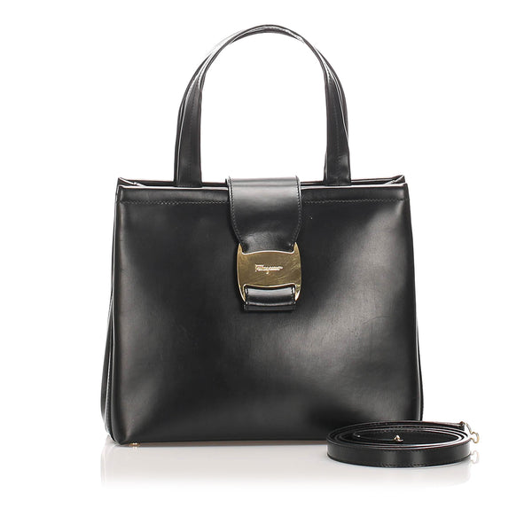 Black Ferragamo Vara Leather Satchel Bag