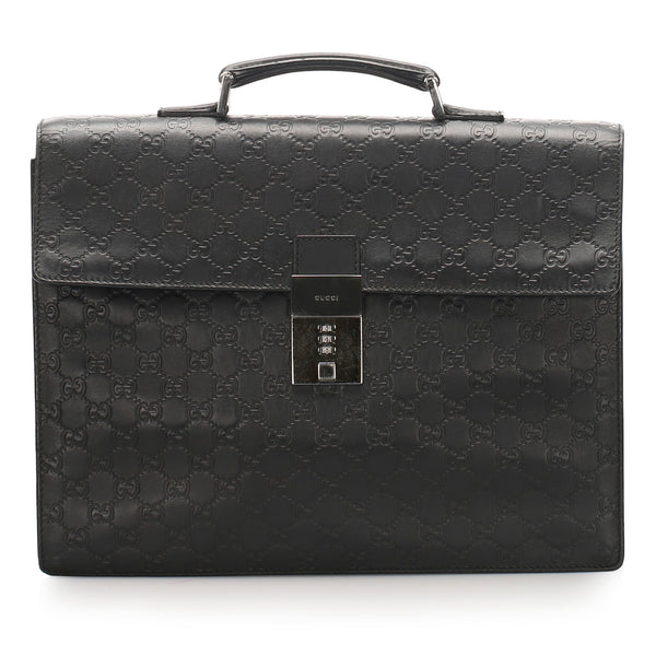 Black Gucci Guccissima Briefcase Bag
