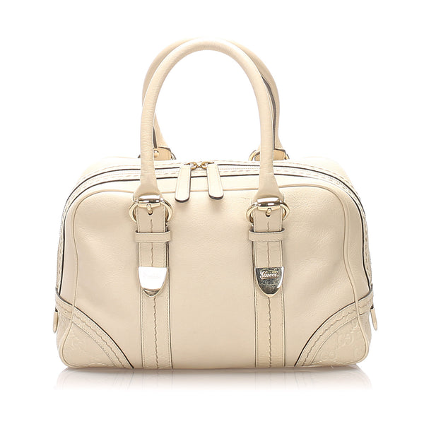 White Gucci Leather Boston Bag