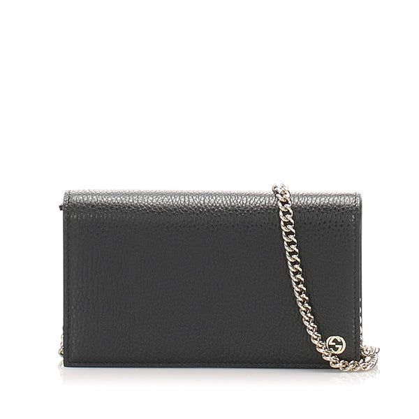 Black Gucci Betty Leather Wallet on Chain