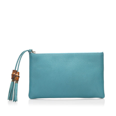 Blue Gucci Dollar Calf Clutch Bag