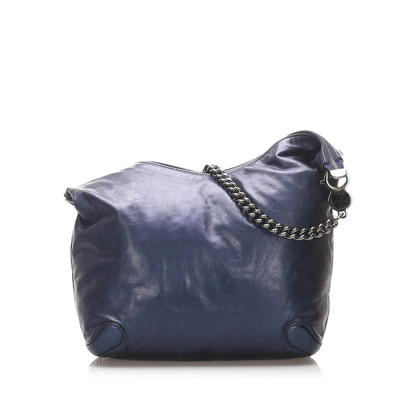 Blue Gucci Galaxy Chain Leather Hobo Bag