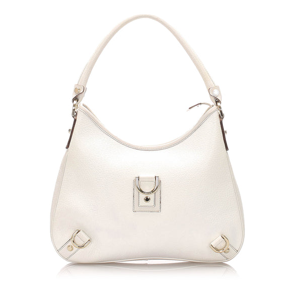 White Gucci Abbey Leather Shoulder Bag
