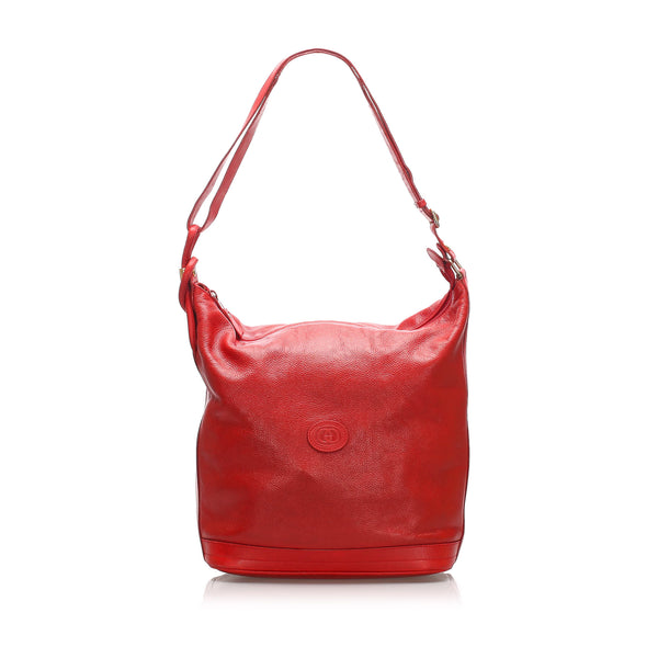 Red Gucci Leather Shoulder Bag