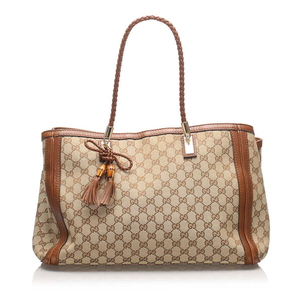 Brown Gucci GG Canvas Bella Tote Bag