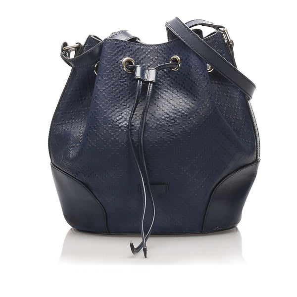 Blue Gucci Diamante Bright Leather Bucket Bag