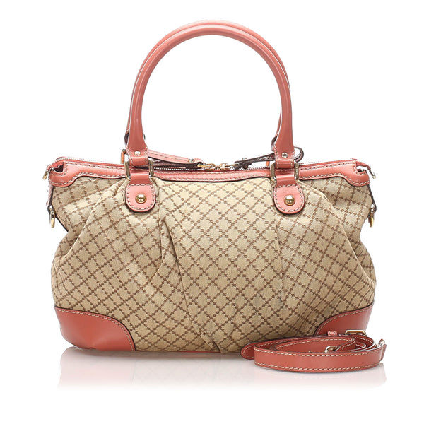 Brown Gucci Diamante Sukey Canvas Satchel Bag