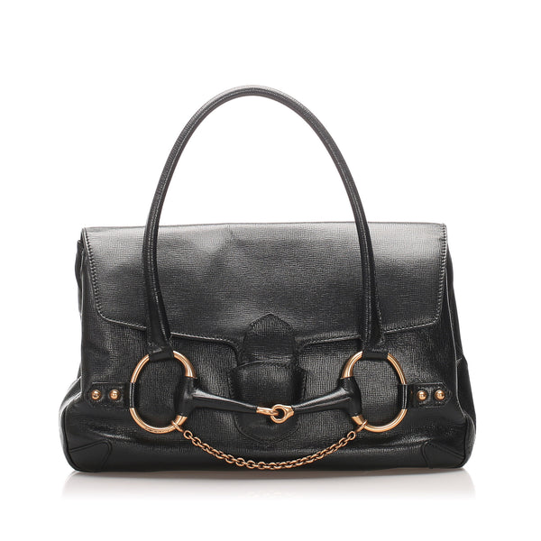 Black Gucci Large Horsebit Leather Handbag Bag