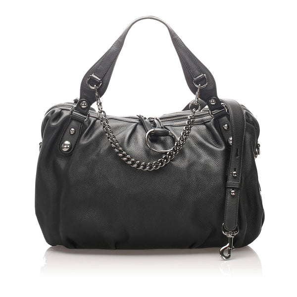 Black Gucci Icon Bit Leather Satchel Bag