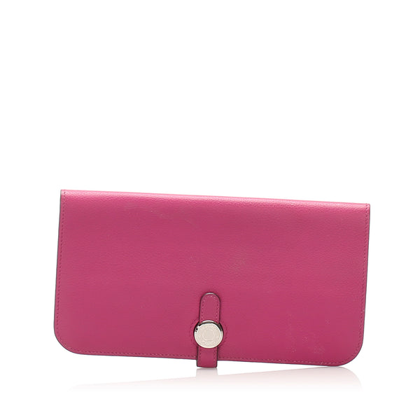 Pink Hermes Dogon Leather Long Wallet