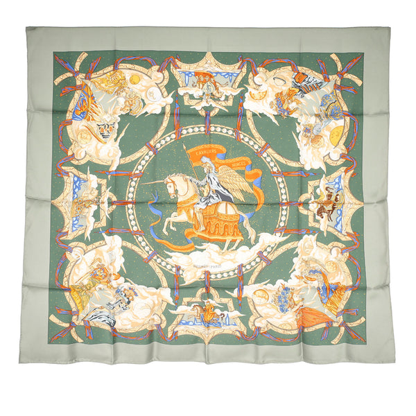 Green Hermes Cavaliers Des Nuages Silk Scarf