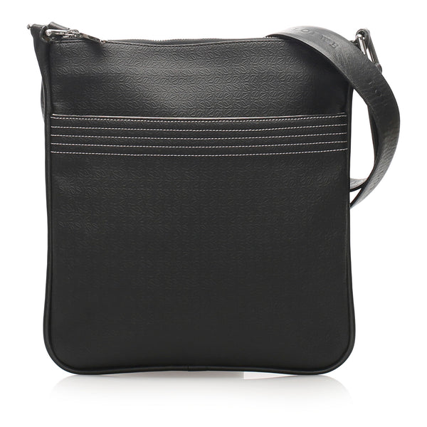 Black Loewe Anagram Leather Crossbody Bag