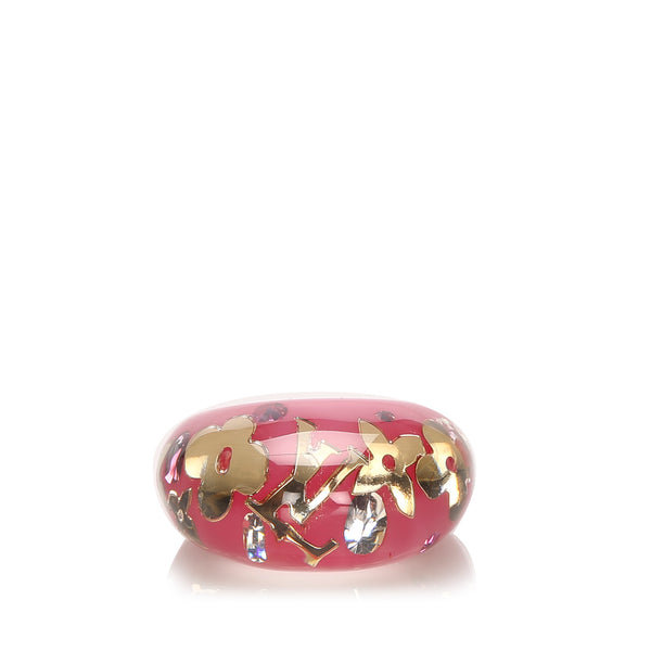 Pink Louis Vuitton Resin Crystal Inclusion Ring