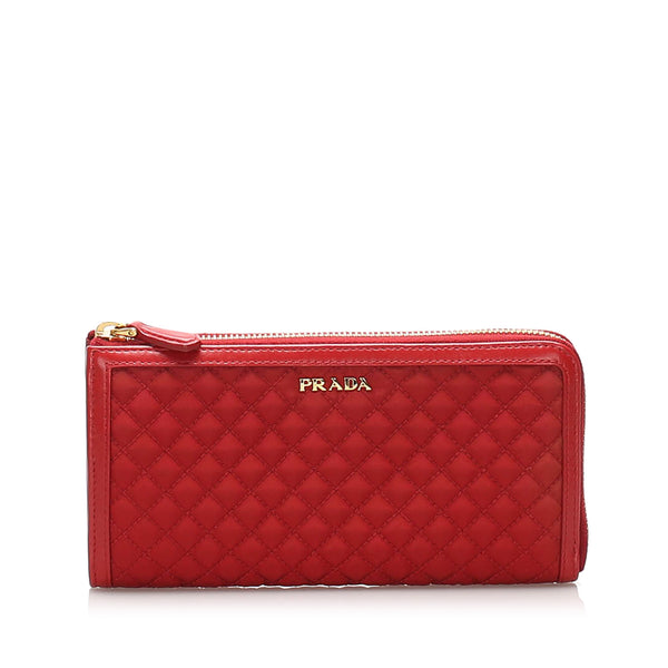 Red Prada Impuntu Tessuto Long Wallet