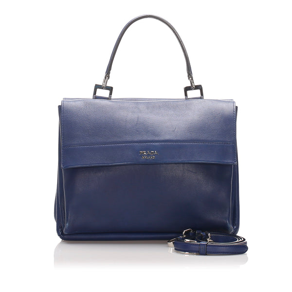 Blue Prada Leather Satchel Bag
