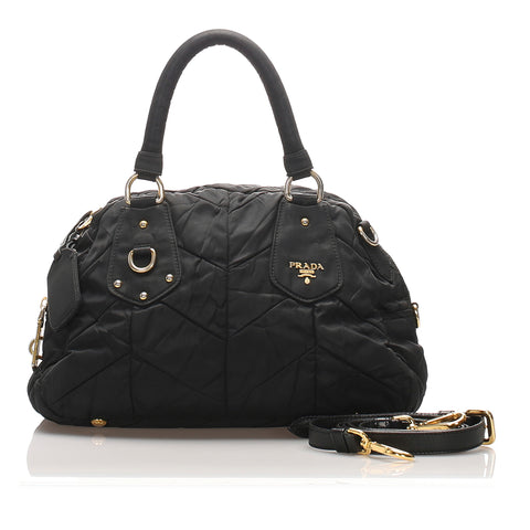 Black Prada Tessuto Bomber Satchel Bag