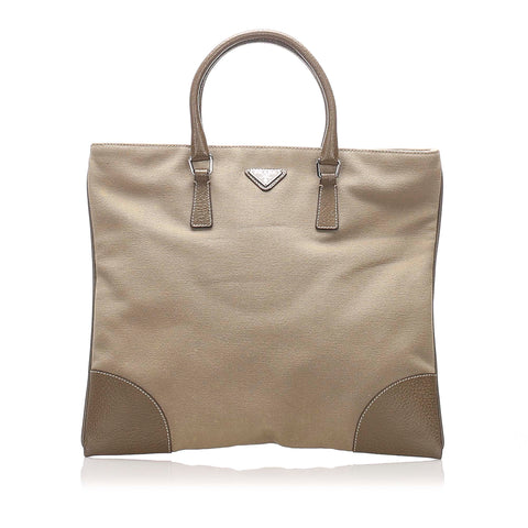 Brown Prada Canvas Tote Bag