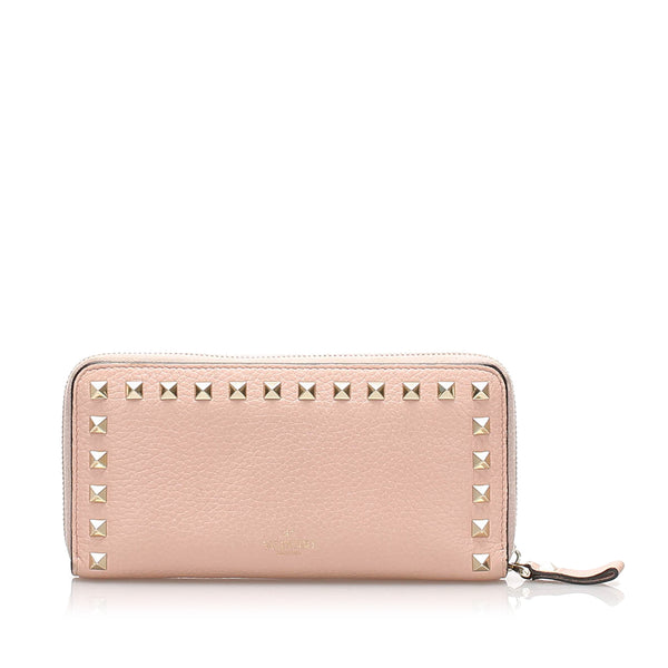 White Valentino Rockstud Zip Around Leather Long Wallet