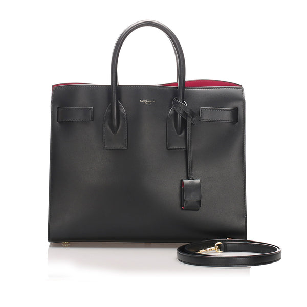 Black YSL Sac Du Jour Leather Satchel Bag