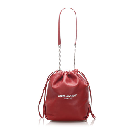 Red YSL Teddy Bucket Bag