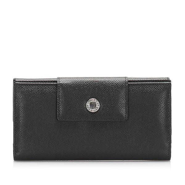 Black Bvlgari Leather Long Wallet