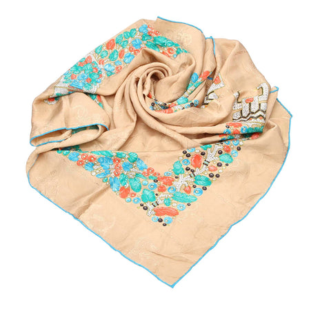 Brown Cartier Printed Silk Scarf