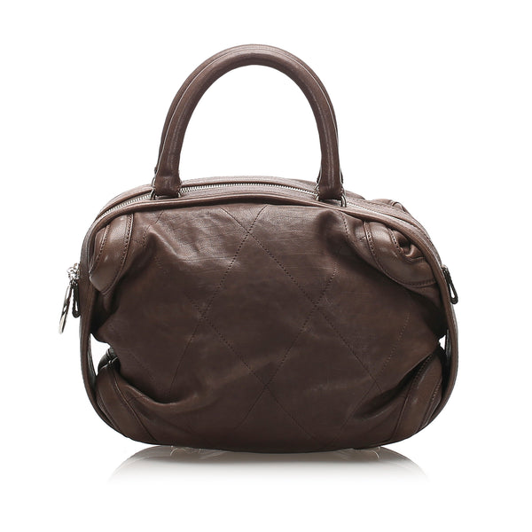 Brown Chanel Wild Stitch Lambskin Leather Handbag Bag