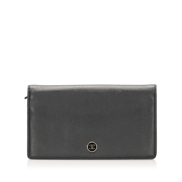 Black Chanel Bi-fold CC Leather Long Wallet