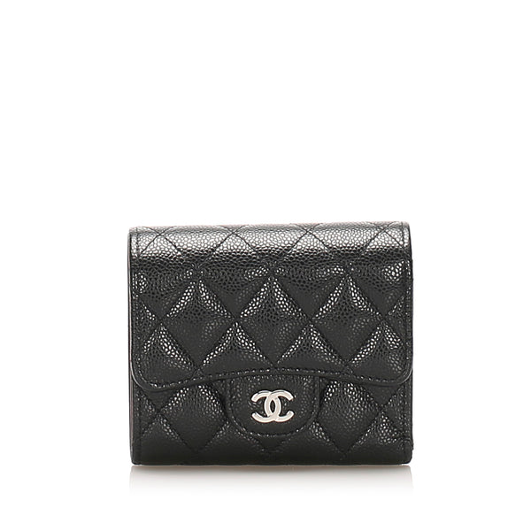 Black Chanel Bi-fold CC Timeless Caviar Leather Small Wallet